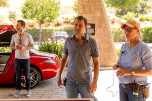 Director Dan Fogelman on the set of 'Danny Collins'