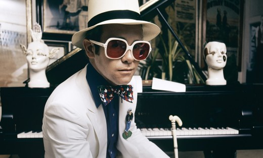 English pop singer Elton John at his home in Windsor, England, 1974. This photograph is from the album cover shoot for Elton John's Greatest Hits album.